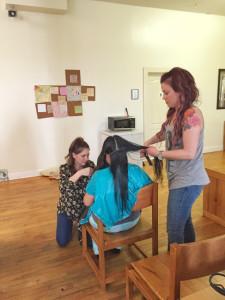 Amanda and Kaylee busy at work!