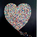 Heart Art, made from refugee life vests.